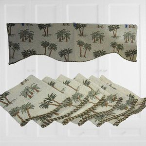 6 Drapery Valances tapestry fabric palm tree 56x16